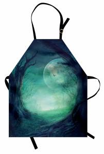 Orman ve Ay Mutfak Önlüğü Orman Manzaralı Ay Işığı