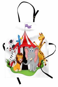 Sirk Hayvanları Desenli Mutfak Önlüğü Çocuklara