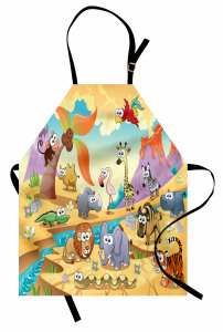 Sevimli Hayvanlar Mutfak Önlüğü Renkli Sevimli Hayvanlar