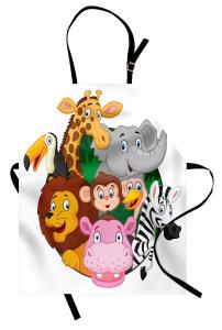 Sevimli Hayvanlar Alemi Mutfak Önlüğü Zebra Aslan Zürafa Maymun