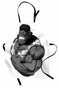 Goril Desenli Mutfak Önlüğü Goril Desenli Gri Siyah