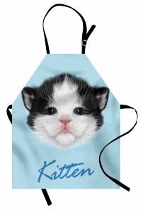 Yavru Kedicik Desenli Mutfak Önlüğü Yavru Kedicik Desenli Mavi