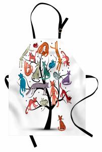 Ağaçta Renkli Kediler Mutfak Önlüğü Ağaçta Rengarenk Kediler
