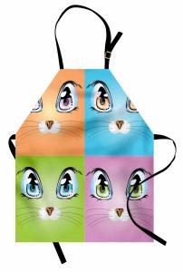Kedi Gözü Desenli Mutfak Önlüğü Kedi Mavi Turuncu Yeşil
