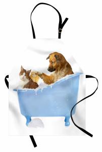 Kedi Köpek Dostluğu Mutfak Önlüğü Mavi Beyaz