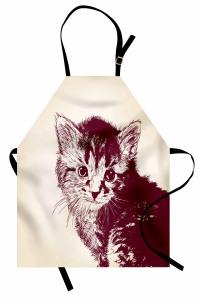 Sevimli Tüylü Kedi Mutfak Önlüğü Bej Siyah