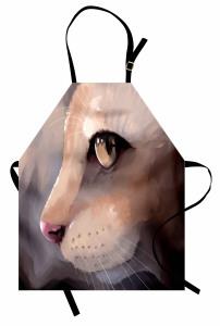 Kedi Portresi Mutfak Önlüğü Kedi Portresi Gri
