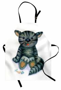 Sevimli Kedi Desenli Mutfak Önlüğü Sevimli Kedi Desenli