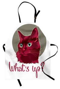 Sevimli Kedi Portresi Mutfak Önlüğü Bordo Beyaz
