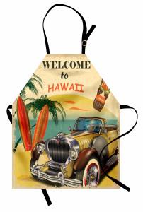 Plaj ve Sarı Araba Mutfak Önlüğü Retro