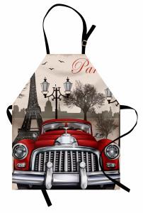 Paris ve Kırmızı Araba Mutfak Önlüğü Şık
