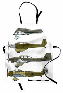 Eski Savaş Uçakları Mutfak Önlüğü Eski Savaş Uçakları Yeşil