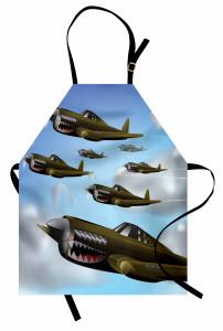 Savaş Uçakları Mutfak Önlüğü Yeşil Savaş Uçakları Bulut