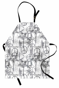 Barış ve Sörf Desenli Mutfak Önlüğü Şık Tasarım