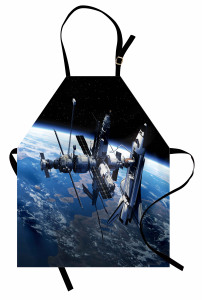 Uzayın Büyüsü Mutfak Önlüğü Dünya Kozmos Mavi Siyah