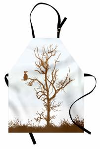 Komik Baykuş Desenli Mutfak Önlüğü Ağaçta Komik Baykuş Desenli