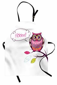 Sevimli Baykuş Desenli Mutfak Önlüğü Rengarenk Şık Trend