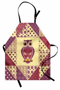 Geometrik Baykuş Mutfak Önlüğü Romantik Çeyizlik Sarı