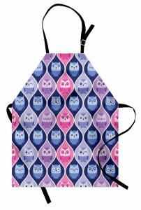 Baykuş Cümbüşü Mutfak Önlüğü Şık Tasarım Pembe Mavi