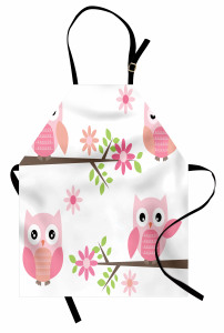 Baykuş ve Çiçek Desenli Mutfak Önlüğü Pembe Baykuş Desenli Çiçek
