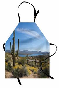 Çöl Manzaralı Mutfak Önlüğü Kaktüs Mavi Gökyüzü