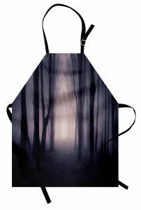 Büyülü Orman Mutfak Önlüğü Ağaç Doğa Siyah Mor