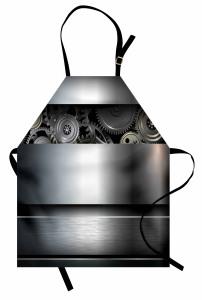 Teknoloji Temalı Mutfak Önlüğü Metalik Gri Trend