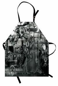 Fabrika Temalı Mutfak Önlüğü Antik Siyah Beyaz