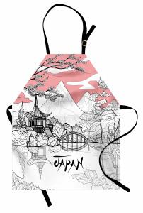 Japonya Temalı Mutfak Önlüğü Kiraz Çiçekleri