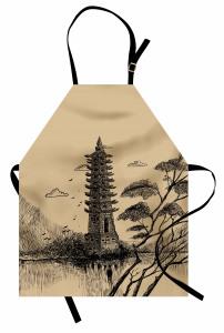 Çin Temalı Mutfak Önlüğü Bej Nostaljik Trend