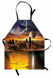 3D Etkili Mutfak Önlüğü Uzay Dünya Ay Evren