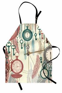 Saat ve Anahtar Temalı Mutfak Önlüğü Nostaljik