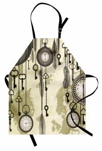 Saat ve Anahtar Temalı Mutfak Önlüğü Bej Antika