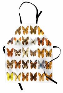 Kelebek Temalı Mutfak Önlüğü Kahverengi Sarı
