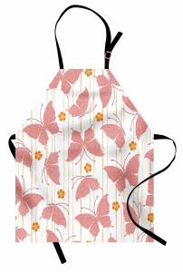 Pembe Kelebek Desenli Mutfak Önlüğü Japon Etkili