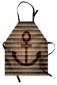 Kahverengi Mutfak Önlüğü Çapa Desenli Antika