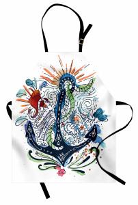 Çapa Desenli Mutfak Önlüğü Sulu Boya Etkili Mavi