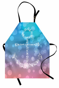 Daire Desenli Mutfak Önlüğü Çapa Temalı Mavi Şık