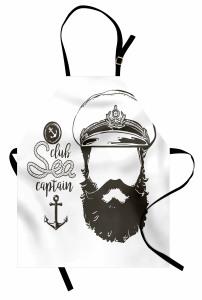 Kaptan Portreli Mutfak Önlüğü Siyah Beyaz Şık