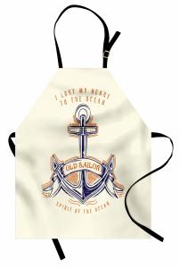 Afiş Temalı Mutfak Önlüğü Çapa Desenli Nostaljik