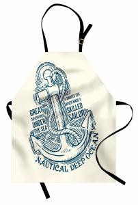 Çapa Desenli Mutfak Önlüğü Afiş Temalı Nostaljik