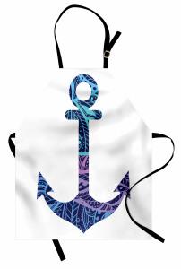 Mavi Çapa Desenli Mutfak Önlüğü Deniz Gemi Beyaz