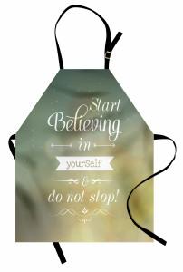 Motivasyon Temalı Mutfak Önlüğü Etiket Yeşil