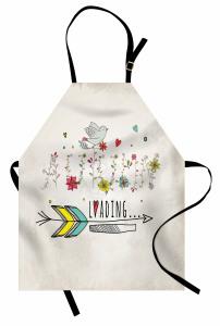 Çiçek ve Kuş Desenli Mutfak Önlüğü Şık Tasarım