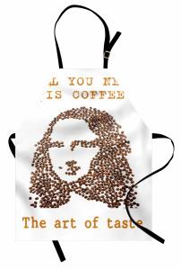 Kadın Portreli Mutfak Önlüğü Kahve Beyaz Zemin