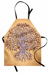 Kahverengi Ağaç Desenli Mutfak Önlüğü Şık Turuncu