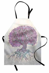 Mor Ağaç Desenli Mutfak Önlüğü Gri Şık Tasarım
