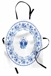 Nostaljik Çiçekler Mutfak Önlüğü Nostaljik Mavi Çiçekler