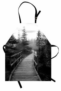Gri Ormandaki Yol Mutfak Önlüğü Doğa Romantik