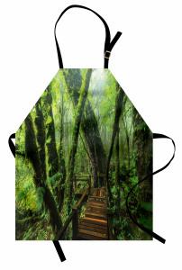 Ormandaki Gizli Yol Mutfak Önlüğü Ahşap Ağaç